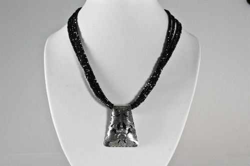 Item 103NS Spinel multi strands with Silver Pendant