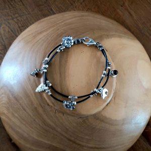 Item 123BS Leather Silver bracelet