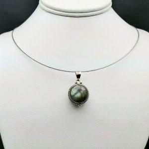 "Item 128PL Labradorite ""box"" pendant"